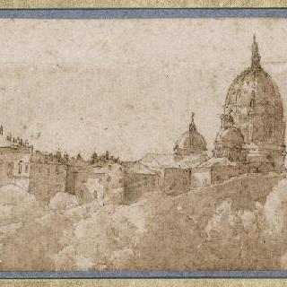 생 피에르 성당의 둥근 지붕 전경과 바티칸의 일부 전경
