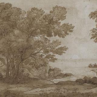 풍경, 바닷가의 나무들과 작은 배 이미지