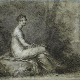 공원에 앉아있는 조세핀 황후의 초상