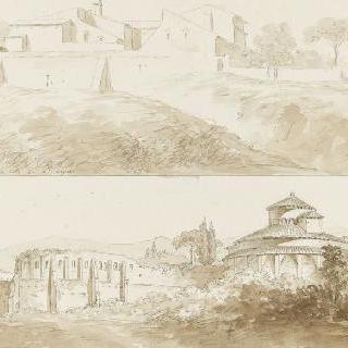 벽의 담장 안의 건축물 : 원형의 성당과 폐허