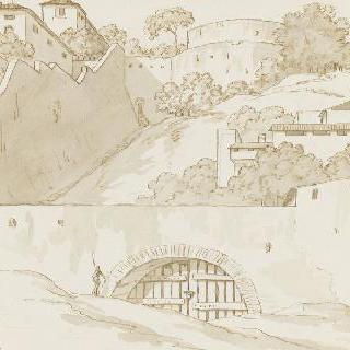 산 사면의 여러 건축물