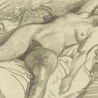오른손으로 얼굴을 가린 채 침대에 누워있는 벌거벗은 여인 습작