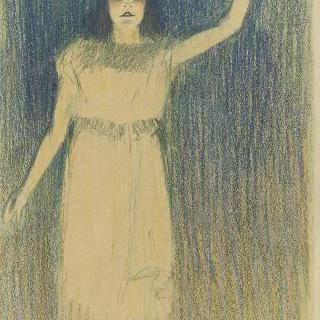 왼쪽팔을 위로 곧게 뻗은 서 있는 여인의 전신