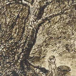 행복한 순간 : 커다란 나무아래 포옹하며 서 있는 벌거벗은 연인