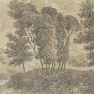 중앙의 일련의 나무들이 있는 풍경