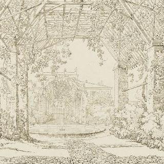 포도나무 넝쿨 아케이드로 덮인 산책길