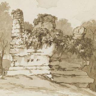 나무들 사이로 로마의 폐허