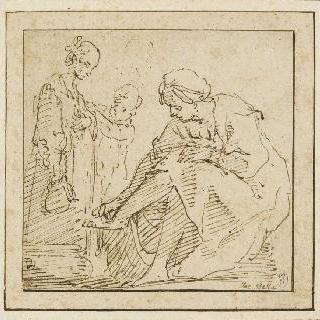 다른 여인과 아이 앞에서 발을 씻는 앉아있는 여인