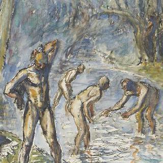 물 속에서 노는 목욕하는 사람들