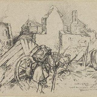 1914년 샤티옹쉬르모랭, 농가에서의 전투, 불타버린 마을