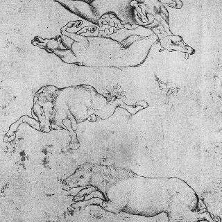 두 마리의 말 : 배를 가른 한 마리와 바닥에 누워있는 다른 한 마리