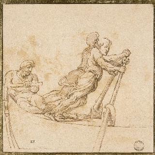 작은 배의 두 노젓는 사람과 키 조정하는 사람