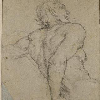 팔을 뒤로 해 몸을 받치고  앉아 있는 목신의 상체, 오른쪽을 향한 프로필