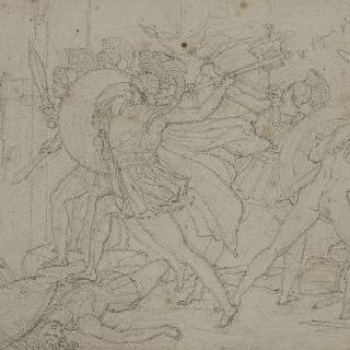 궁전의 대문들을 공격하는 그리스 군인들