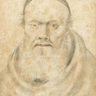 성직자의 모자를 쓰고 긴 수염 난 어느 사제의 초상