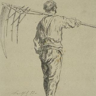 어깨 위에 낫을 올려놓은 풀 베는 사람의 뒷모습