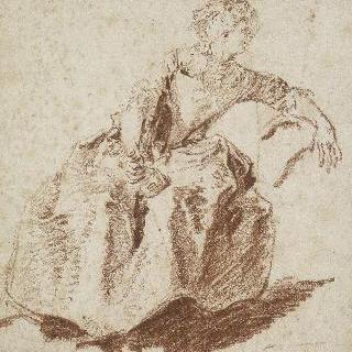 우측 방향으로 앉아있는 젊은 여인