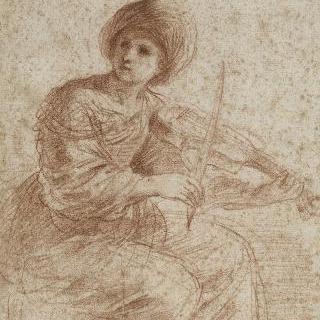 바이올린을 연주하는 여인 : 성녀 세실 추정
