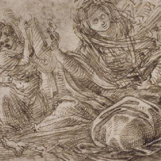 책을 들고 있는 무녀와 두 천사