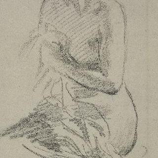 누드 습작, 왼쪽 4분의 3각도로 앉아 있는 여자의 토르소