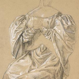드레스에 대한 습작, 거의 정면을 보고 앉아 있는 여자