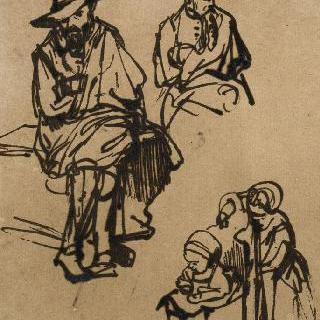 챙 없는 모자를 쓴 앉아있는 남자의 흉상과 두 아이들