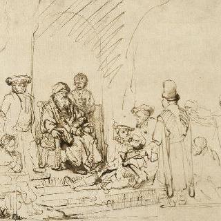 이집트에서 돌아온 아들들의 이야기를 듣고 있는 야곱