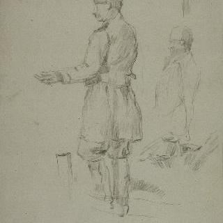 바구니를 들고 서 있는 남자