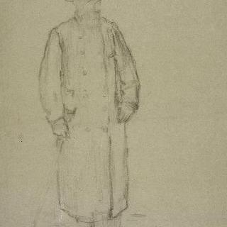 만토를 입고 서 있는 남자