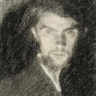 남자 초상, 상반신 프로필, 정면 얼굴