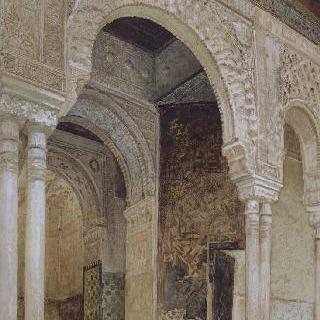 1869년 스페인 그라나다의 알람브라 궁전의 두 개의 탑 홀 입구
