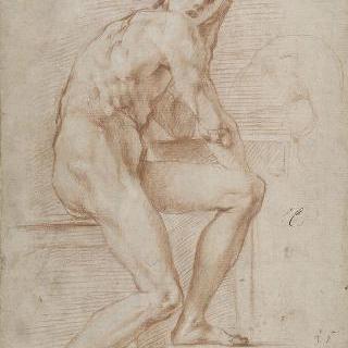 나체화 습작 : 왼쪽 팔을 괴고 앉아있는 나체의 남자