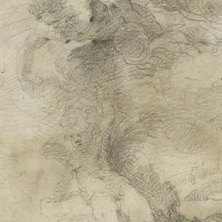구름 속의 두 인물 : 제우스와 에로스