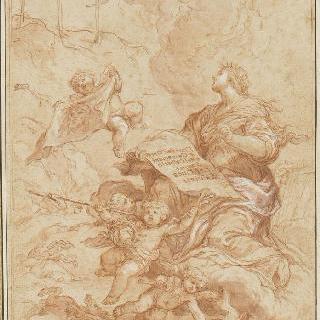 책의 내제 왼편 페이지의 그림 : 신성한 상징과 세속적 상징들
