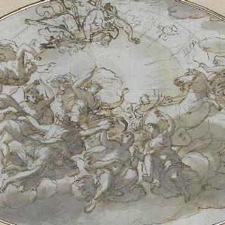 시간의 신들에게 둘러싸인 아폴론 전차