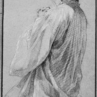 두 손을 합장하고 무릎꿇은 예수회 수도사 노비스의 왼쪽 옆모습