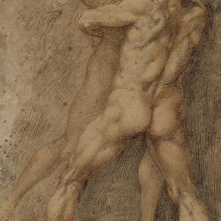 헤라클레스와 안테우스 ; 팔라조 델 소달리지오 데 피체니에 대한 습작 (로마)