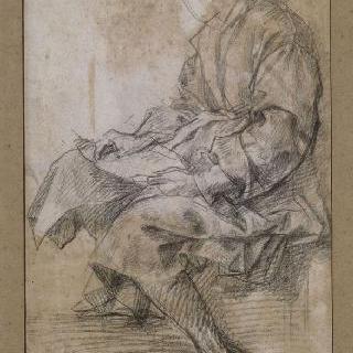 주름진 옷을 입은 앉아있는 남자. 작가 : 피렌체 시오스트로 델로 스칼조의 성 요한 습작