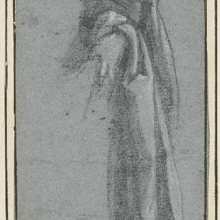 주름진 옷을 입은 인물의 왼쪽 절반의 습작