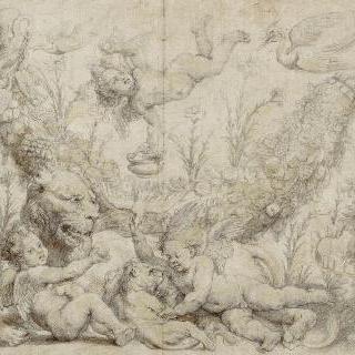 과일과 꽃 장식의 한 가운데에서 암사자와 새끼 사자와 함께 장난치는 사랑의 신들