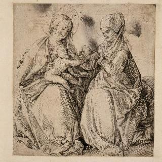 성모 무릎에 앉아있는 아기 예수에게 과일을 바치는 성녀 안