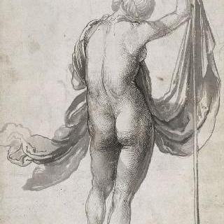베일이 달린 대를 손으로 잡고, 등을 보이며 서 있는 여인의 나체화 습작