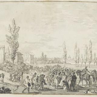 비르길리우스의 영광을 기린 기념물의 입면도를 지시하는 보나파르트