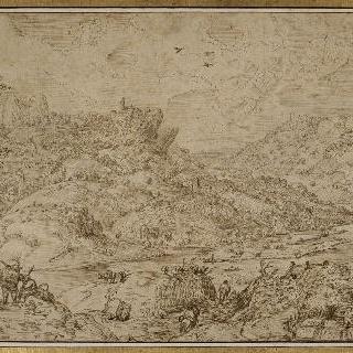강물을 가로지는 언덕의 풍경