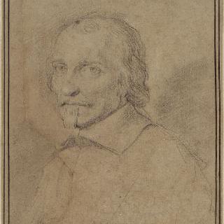 4분의 3정도 왼쪽을 향하고 있는 맨머리의 남자 초상