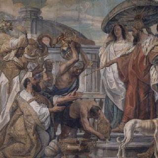 샤를마튜대제에게 시계를 선사한 하론 알라르치 칼리프의 사신들
