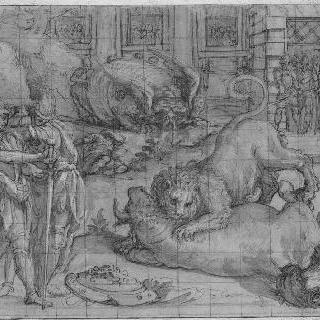 황소와 사자의 싸움, 무장한 여러 명의 사람들