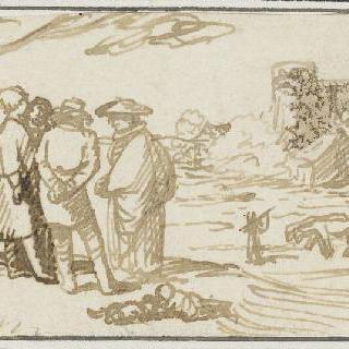 대화를 하고 있는 네 명의 형상과 소가 끄는 수레가 있는 풍경