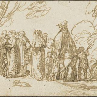 숲속의 빈터안의 말을 탄 남자와 서 있는 형상들