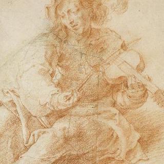 바이올린을 연주하는 앉아있는 남자